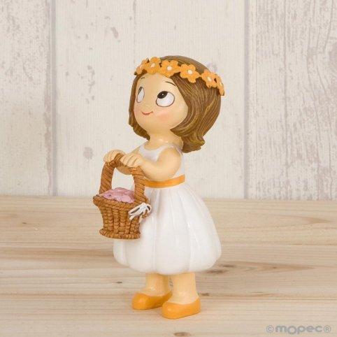 Figura pastel Pop & Fun niña cesta pétalos 11cm.