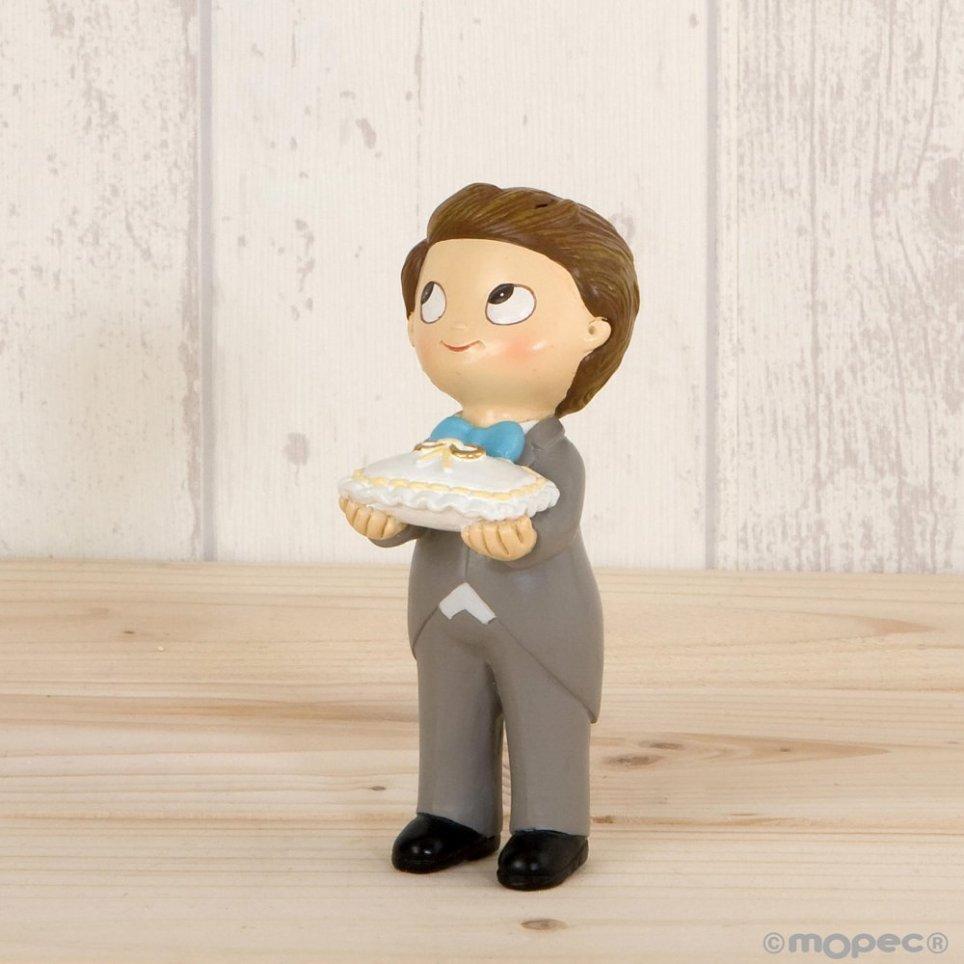 Figura pastel Pop & Fun boda niño cojín anillos 11cm.