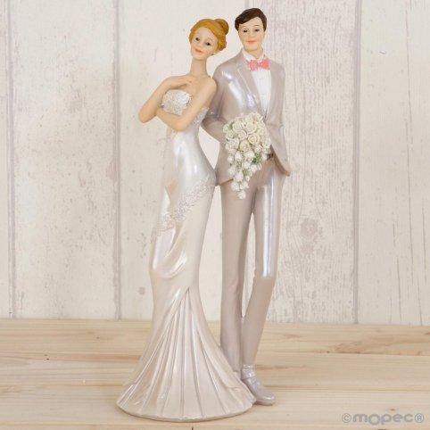 Figura pastel novios vestidos de fiesta 25cm.
