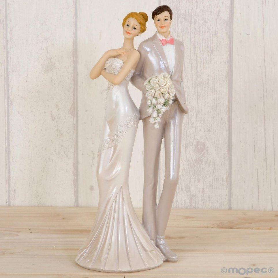 Figura torta sposa e sposo abiti da festa 25 cm.