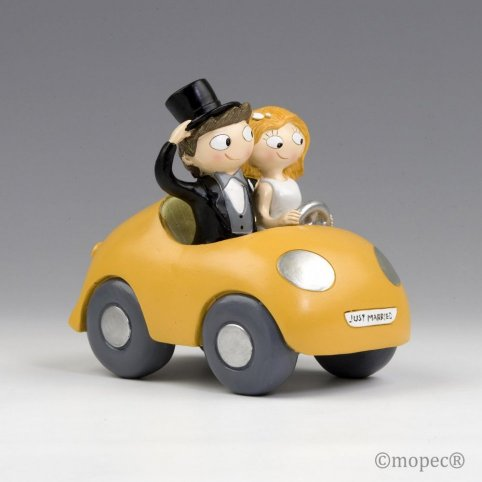 Figura torta coppia Pop & Fun in auto 16cm