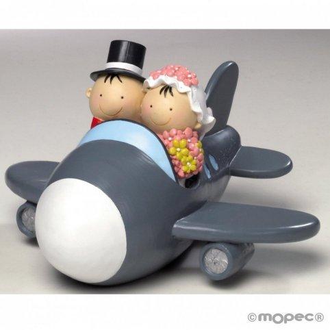 Figura pastel-hucha novios Pit&Pita avión 19cm