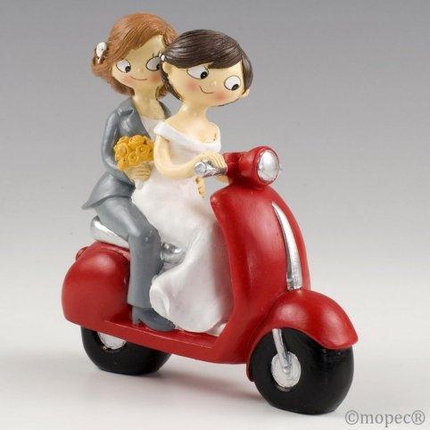 Figura pastello di ragazze Pop & Fun su una moto 17 cm