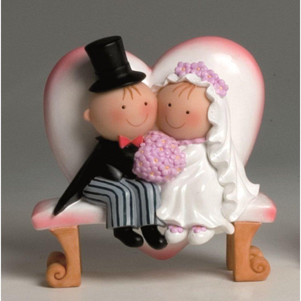 Pit & Pita torta figura sposa e sposo cuore panchina 15