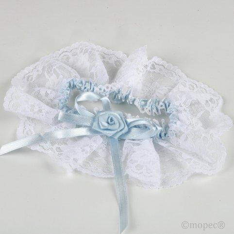 Strumpfband mit weißer Spitze und himmelblauem Satin
