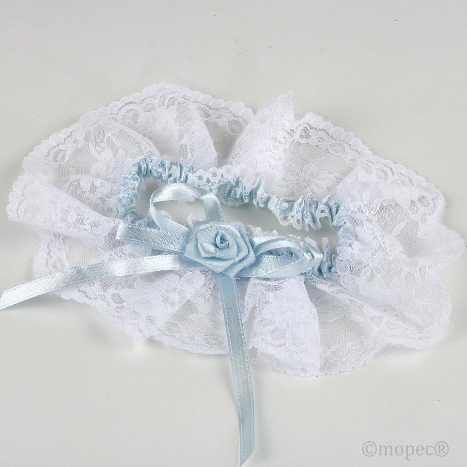 Giarrettiera punta bianca con raso celeste