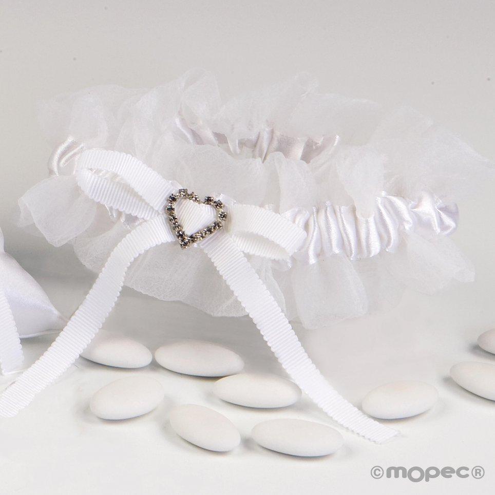 Strumpfband mit weißer Spitze und Herzbrosche