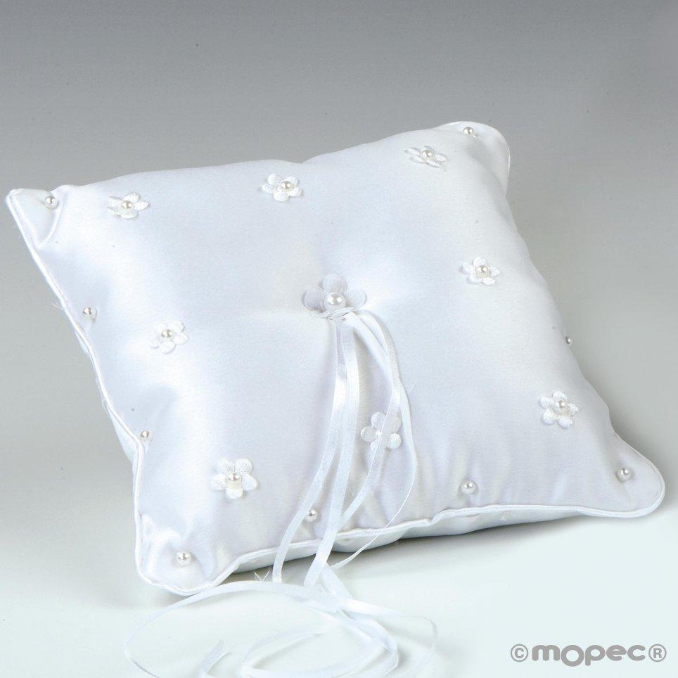 Alliances cuscino fiori con perle bianche 20x20cm
