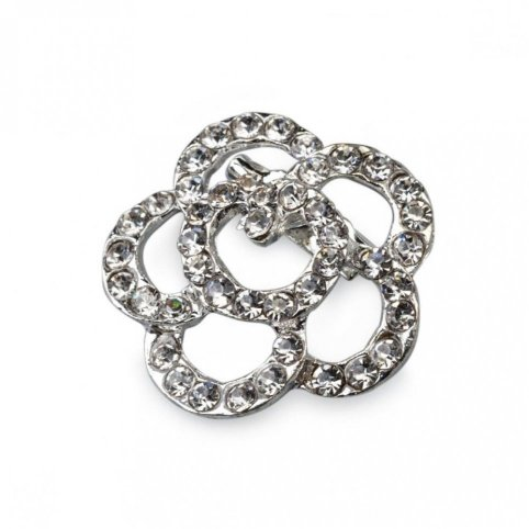 Strass flower brooch 3cm.min.12