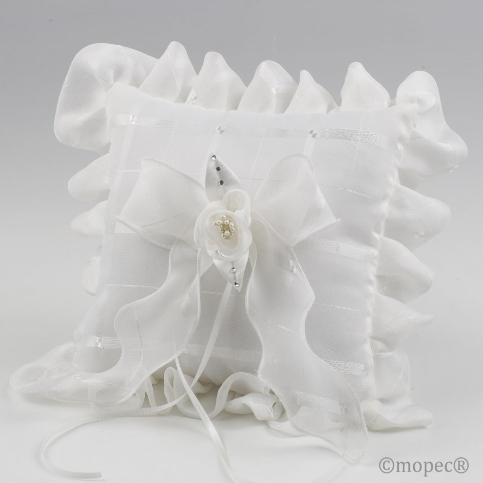 Cushion wedding boxes ivory flower perlites 19x19cm