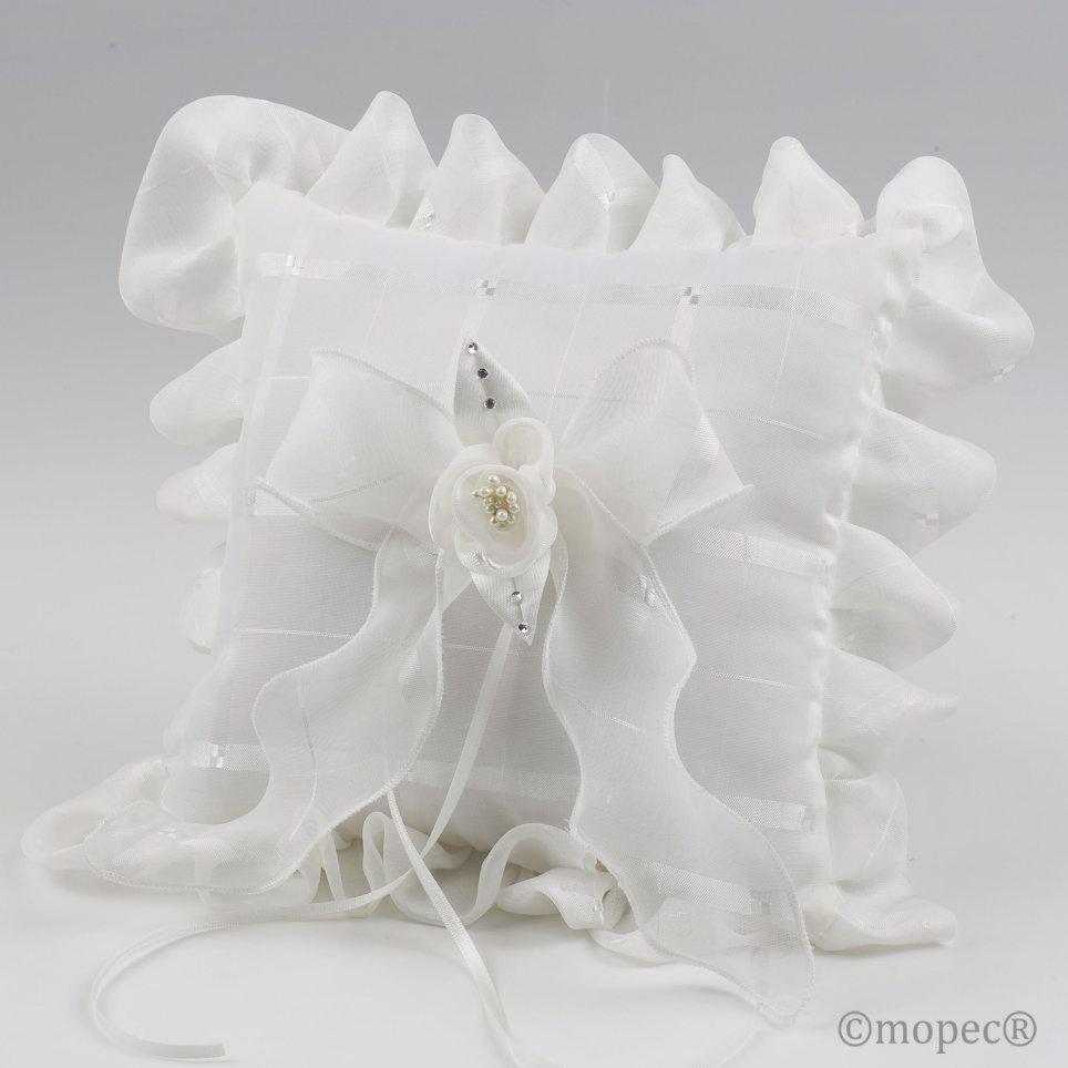 Plaid avorio alleanze cuscino fiore perle 19x19cm