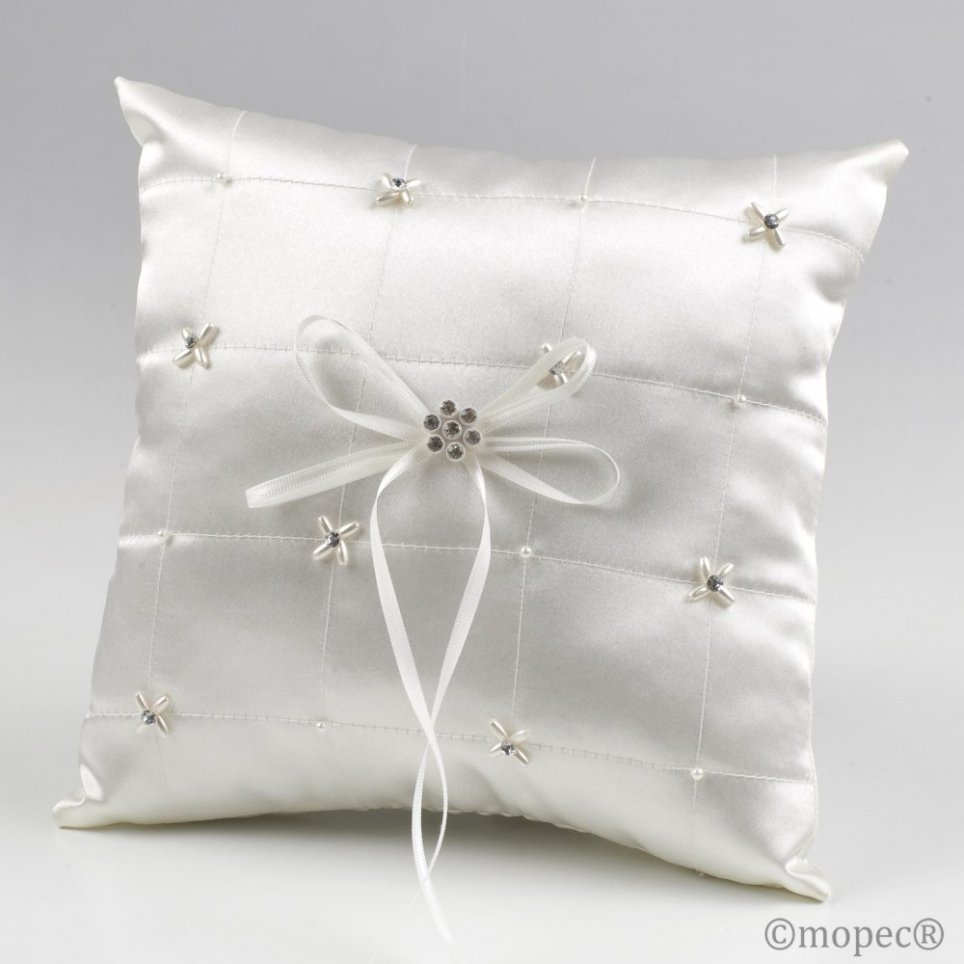 Kissen Trauringe Elfenbein Quadrate Perlen Diamanten 20x20cm