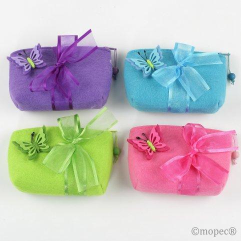 Schmetterlingsfilztasche 4 Farben stdos. 4 Pralinen min.4