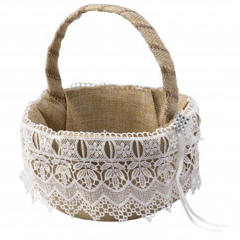 Basket arras burlap with tiptoe and detail strass s15x19cm
