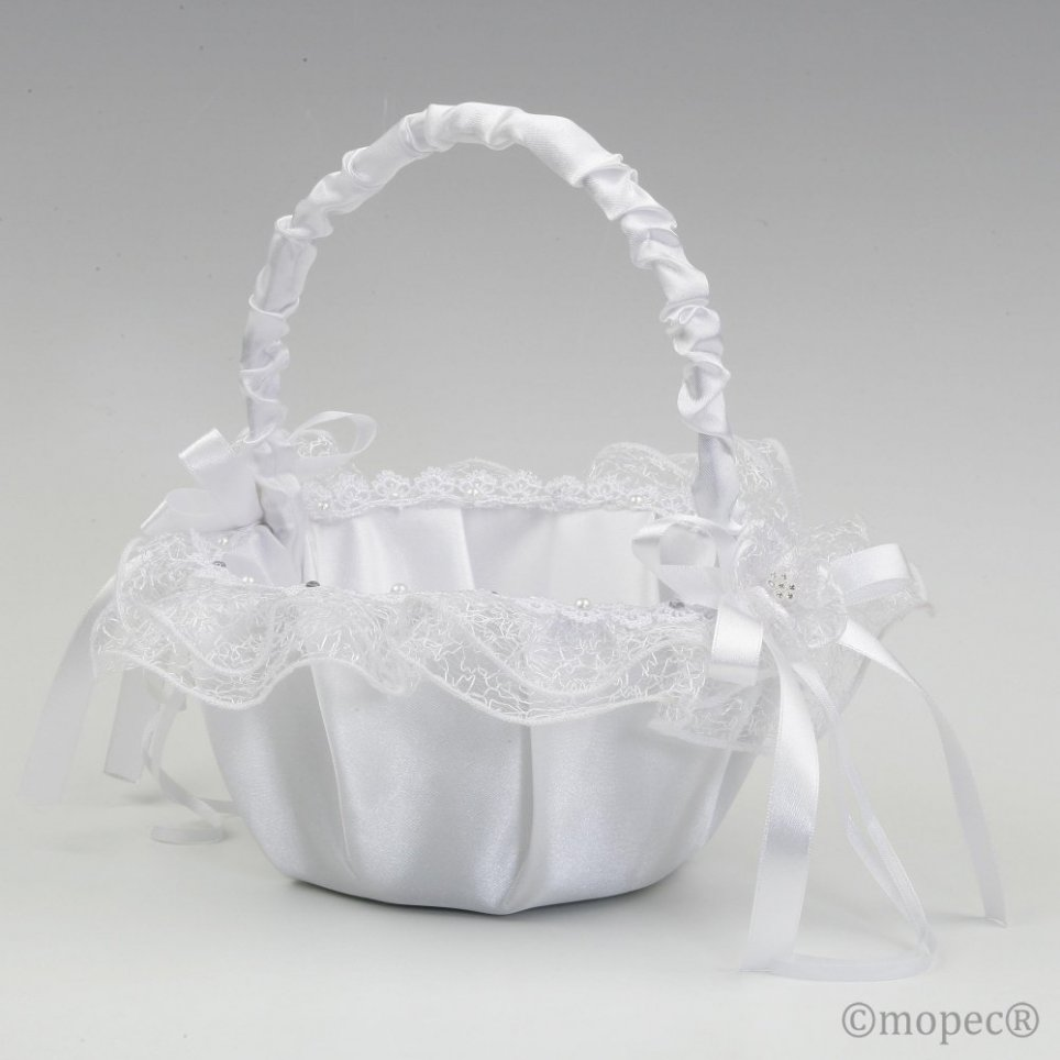 White tul round arras basket 15cm. SWEET PRICE