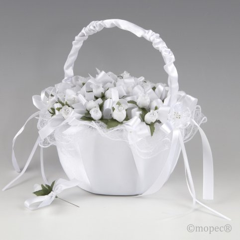 Cesta tul blanco 36 prendidos flor blanca