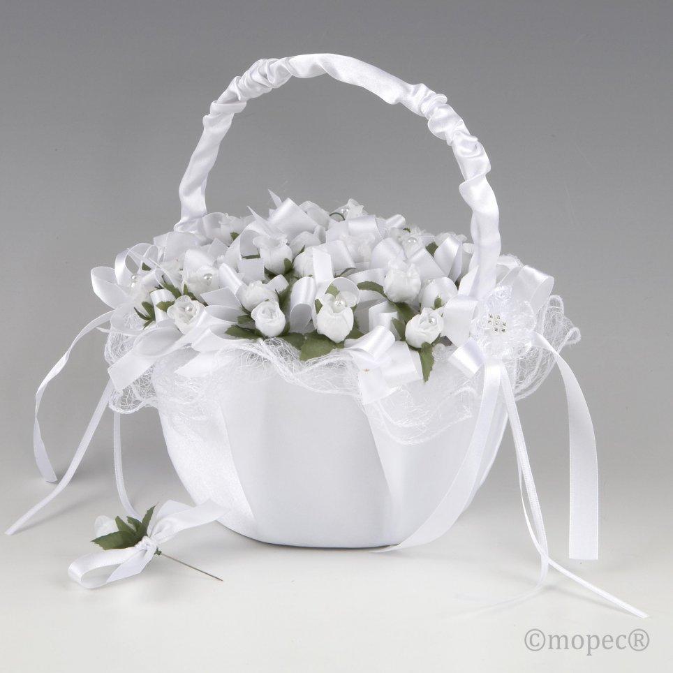 36 cesto di tulle bianco su fiore bianco
