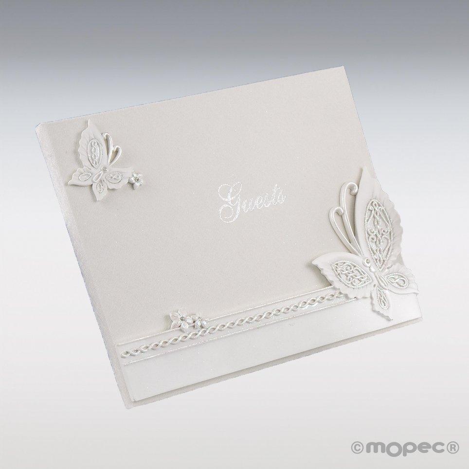 Libro con firma a farfalla 23x19 cm