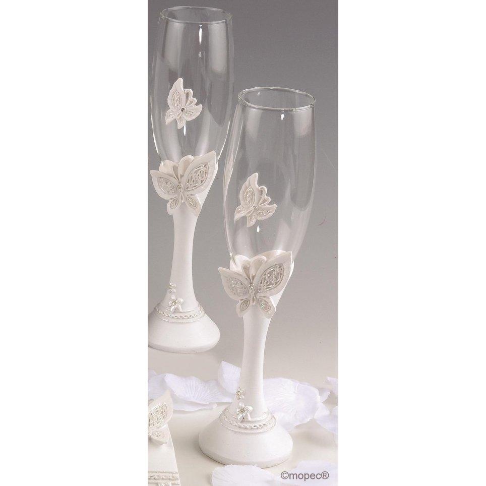 Set di bicchieri a farfalla 24 cm
