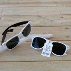Weiße Sonnenbrille schwarze Schläfe PROMOTION