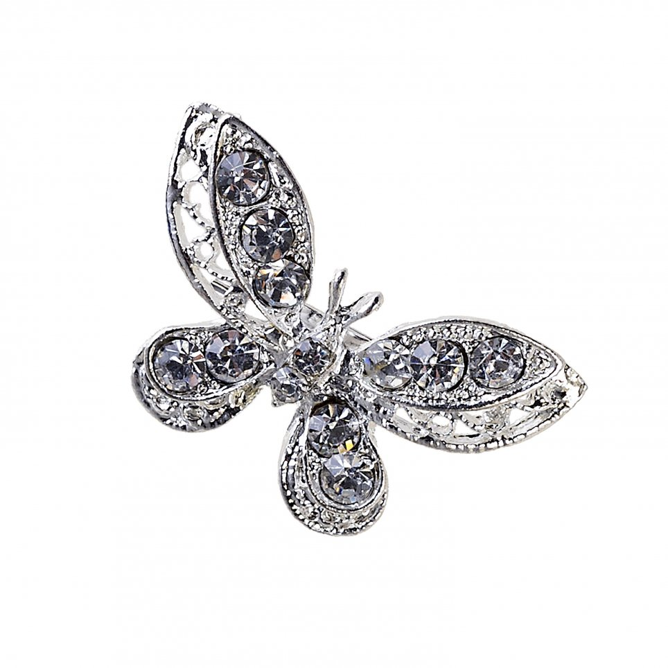 Butterfly brooch strass min.12