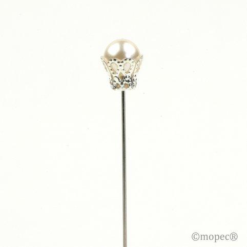 Aguja perla marfil con corona precio x caja 48un.