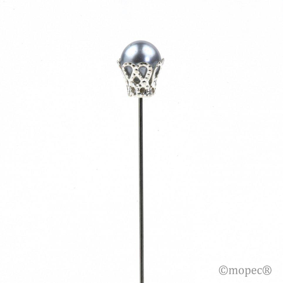 Aguja perla gris con corona precio x caja 48un.