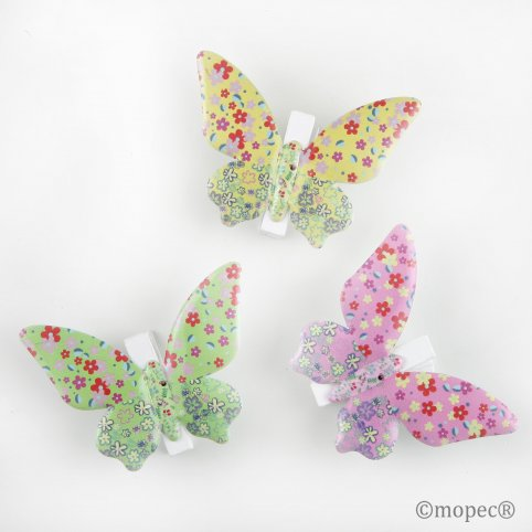 Pinzas mariposas multicolor metal 3 colores