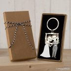 Portachiavi pop & fun photocall sposi in confezione regalo decorata
