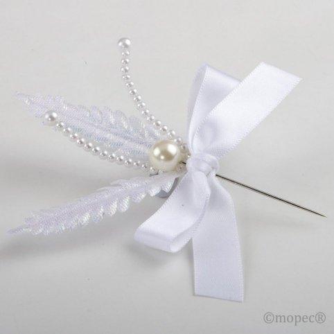 Prendido perla hoja perlada blanca min. 25