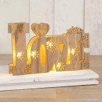 Dec. Wood Love with LED lights 21x13cm.incl. 2 batteries