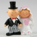 Pit-Pita pastello figura sposa e sposo mano nella mano 14cm