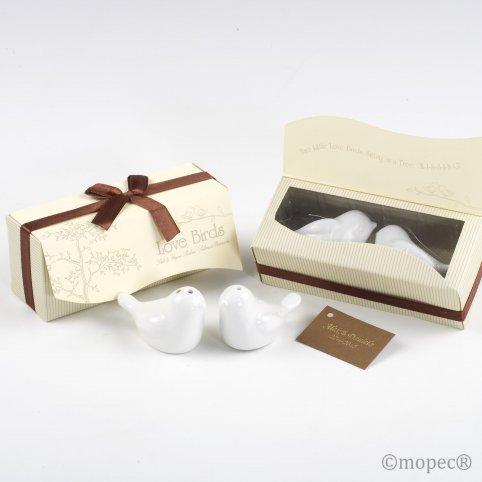 Set salero y pimentero pájaros en caja regalo