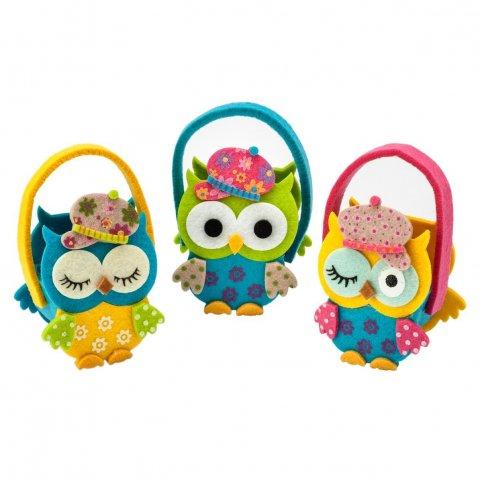Small basket owls hat 13cm.(handles) stdo