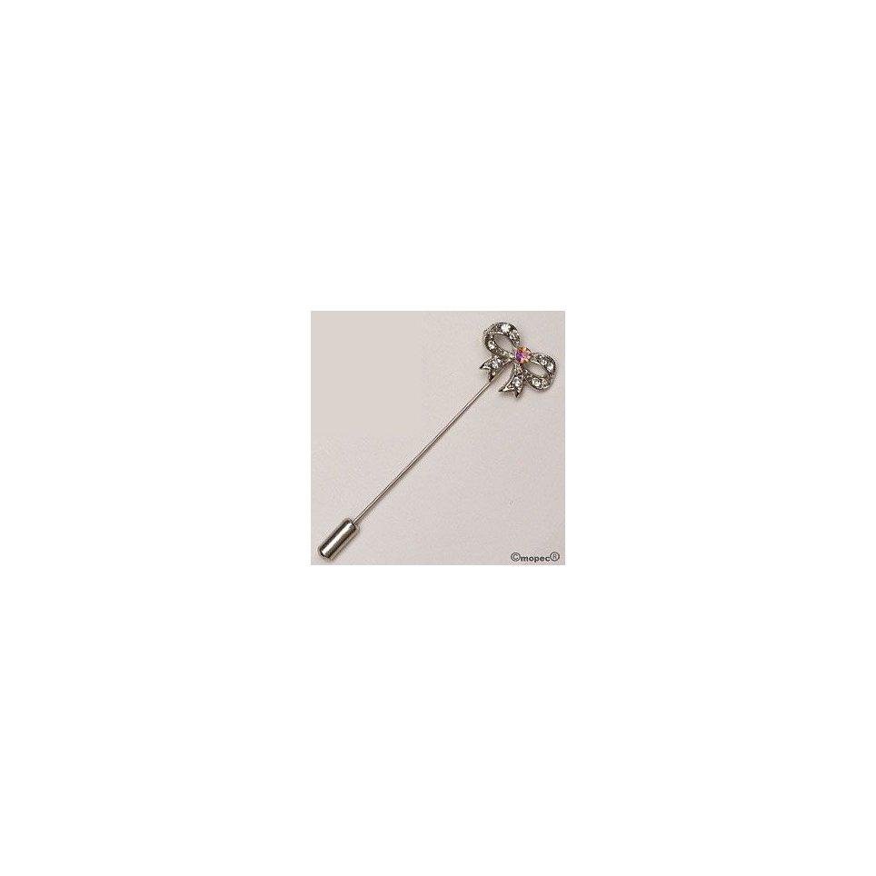 Fermacravatta metallico con diamanti