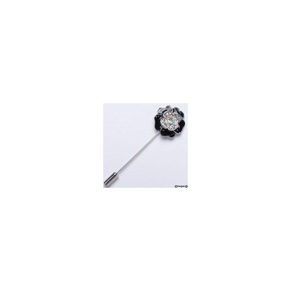 Alfiler metálico flor negra diamantes