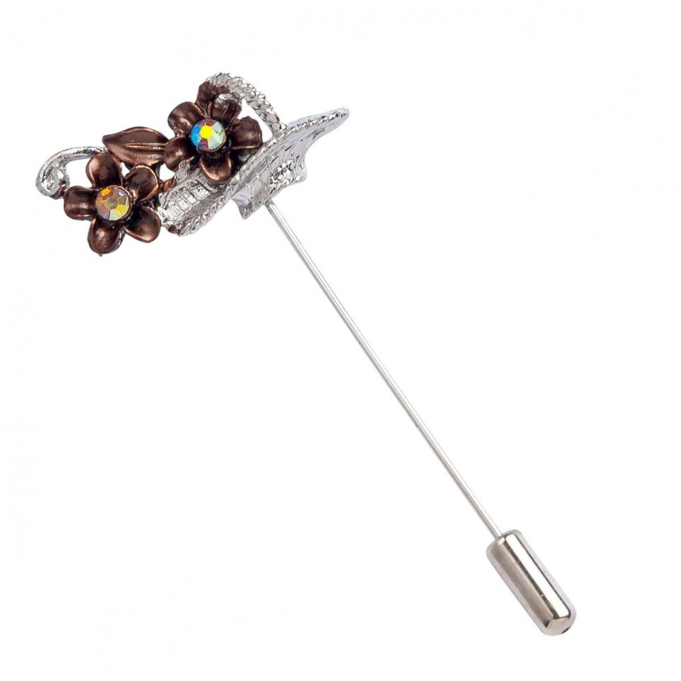 Metallic pin basket brown flowers min.12