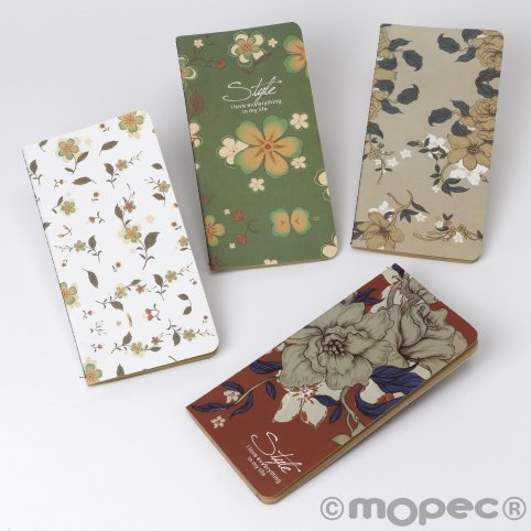 Flower notebooks 9x17cm 4surtid