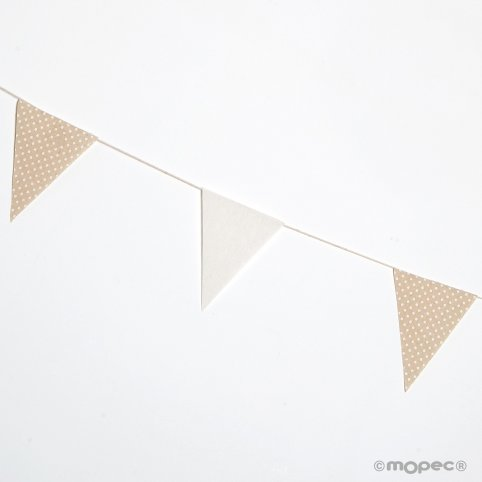 Garland flag fabric 12x16cm. ivory and beige moles 180cm
