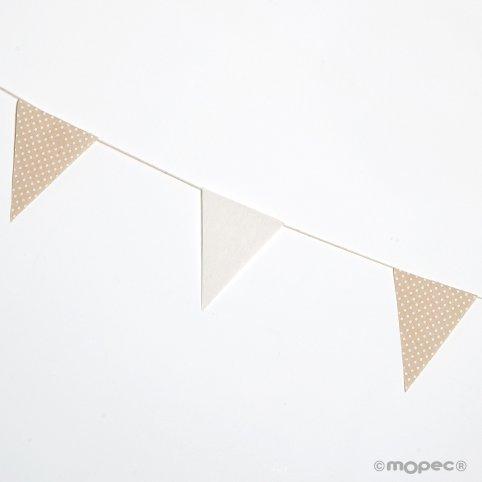 Guirnalda bandera tela 12x16cm. marfil y beige topos 180cm