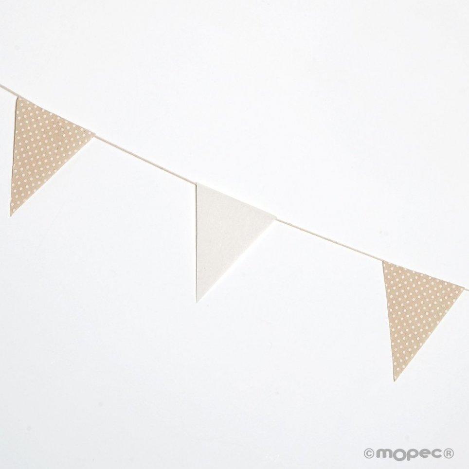 Stoffflagge Girlande 12x16cm. Elfenbein und beige Tupfen 180cm