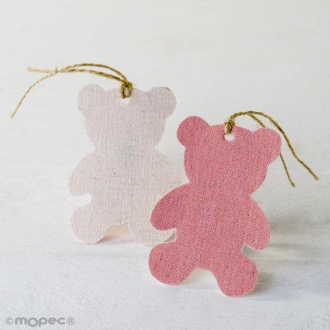 Dekorativer Textilanhänger rosa Bär