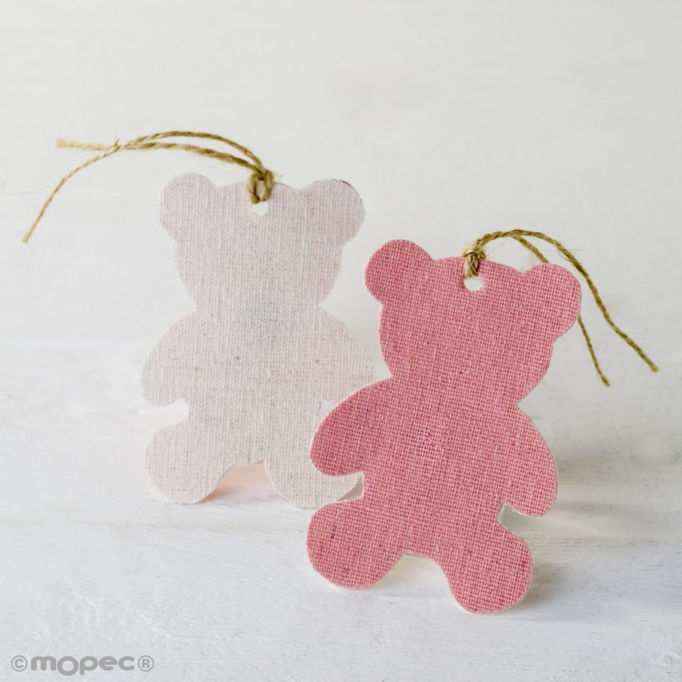 Ciondolo decorativo in tessuto rosa orso