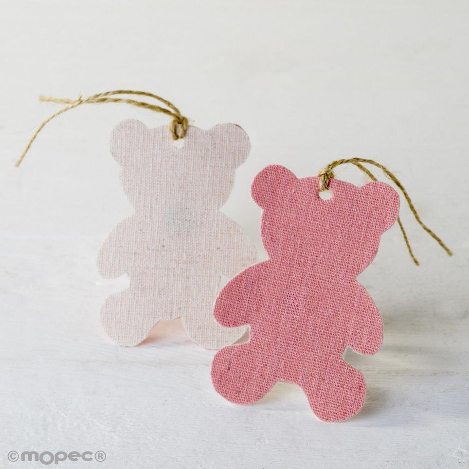 Colgante textil decorativo osito rosa