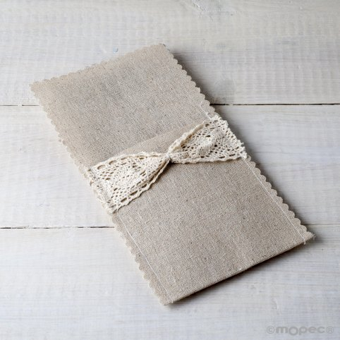 Linen and crochet envelope for cutlery 11x22cm