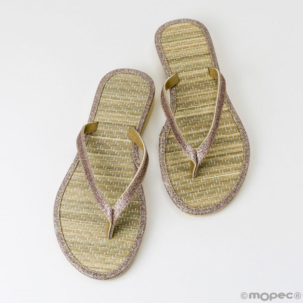 Flip flop bamboo detail lamé size M