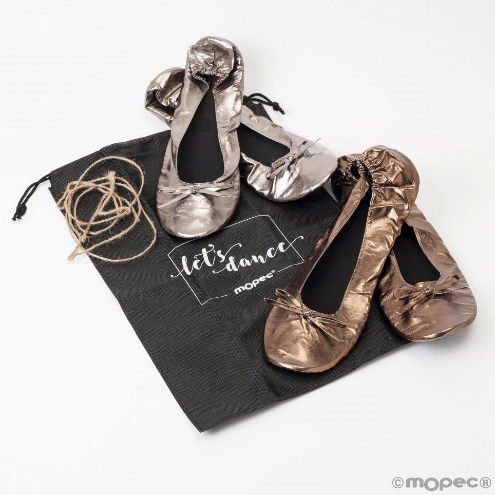Ballerine argento e rame taglia L + borsa tacchi min. 2