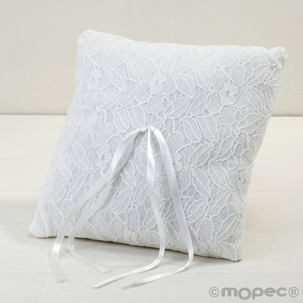 Kissen für Eheringe mit Elfenbeinspitze 20x20cm.