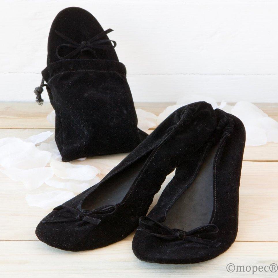 Bailarina terciopelo NEGRA+bolsa