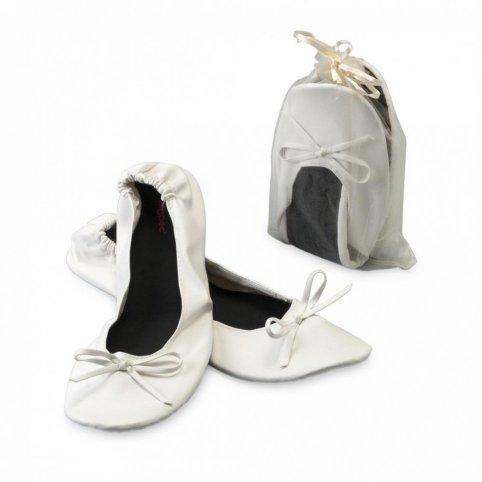 Bailarina blanca imit. piel+bolsa
